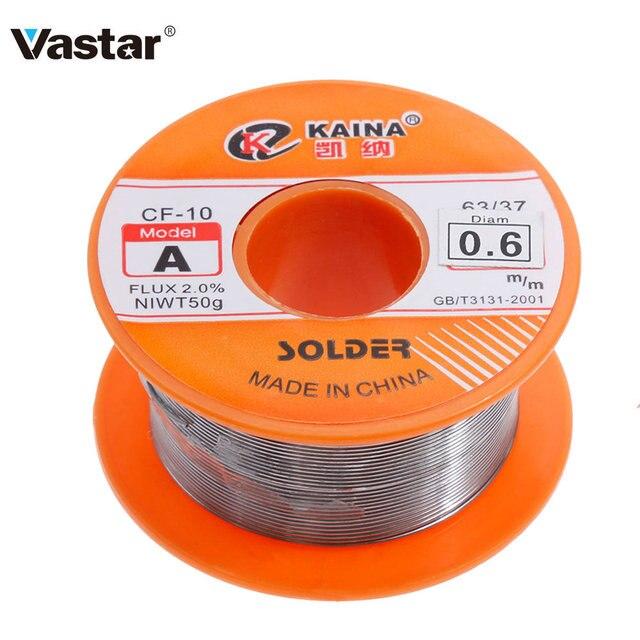 Vastar 0.6/0.8/1/1 2/1.5 มม.ฟลักซ์ 63/37 1.2% / 2.0% 45FTดีบุกดีบุกลวดดีบุกละลายRosin Core Soldering Wire ROLL