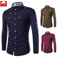 Spring And Autumn Slim Fit Long Sleeve Men Shirt Complex Multi Button Solid Color Pocket Fashion NZC 013