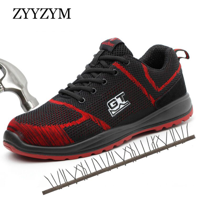 ZYYZYM Steel Toe Work Safety Boots Men Shoes big Size 36-46 Outdoor Puncture Proof Protective Sneakers