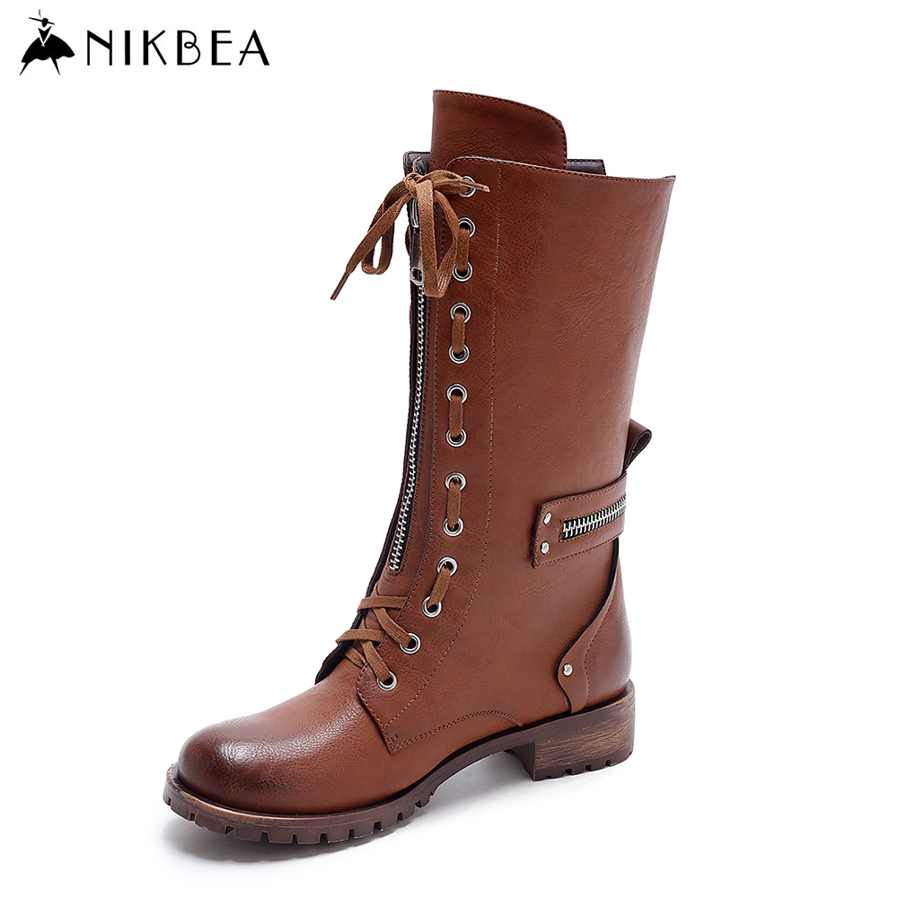Nikbea Vintage Mid Calf Military Boots Women Flat Boots Lace Up 2016 Winter Boots Martin Autumn Shoes Pu Botas Feminina Inverno double buckle cross straps mid calf boots