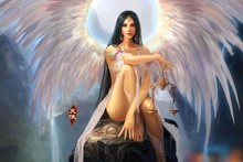 fantasy art angels women females girls babes sexy wings frbric cloth silk art wall poster prting