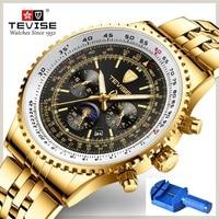 Tevise relógio mecânico masculino grande relógio 49mm diâmetro lua fase semana transparente relógio automático fixer dropshipping