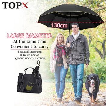 Paraguas doble resistente al viento de 130cm Paraguas grande plegable no automático...