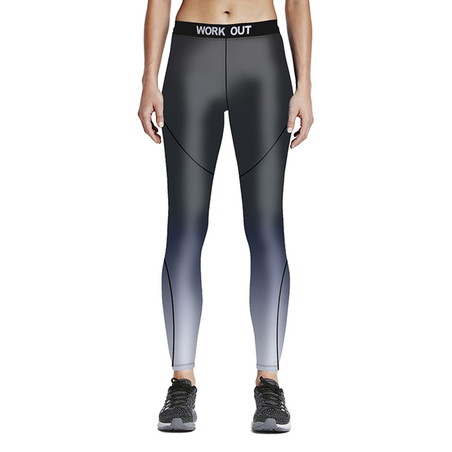 12fad51e8 Plus Size Women Gradient Grey Sport Running Tights New Workout Yoga Outfit  Professional Blue Black Jogging And Running Pants