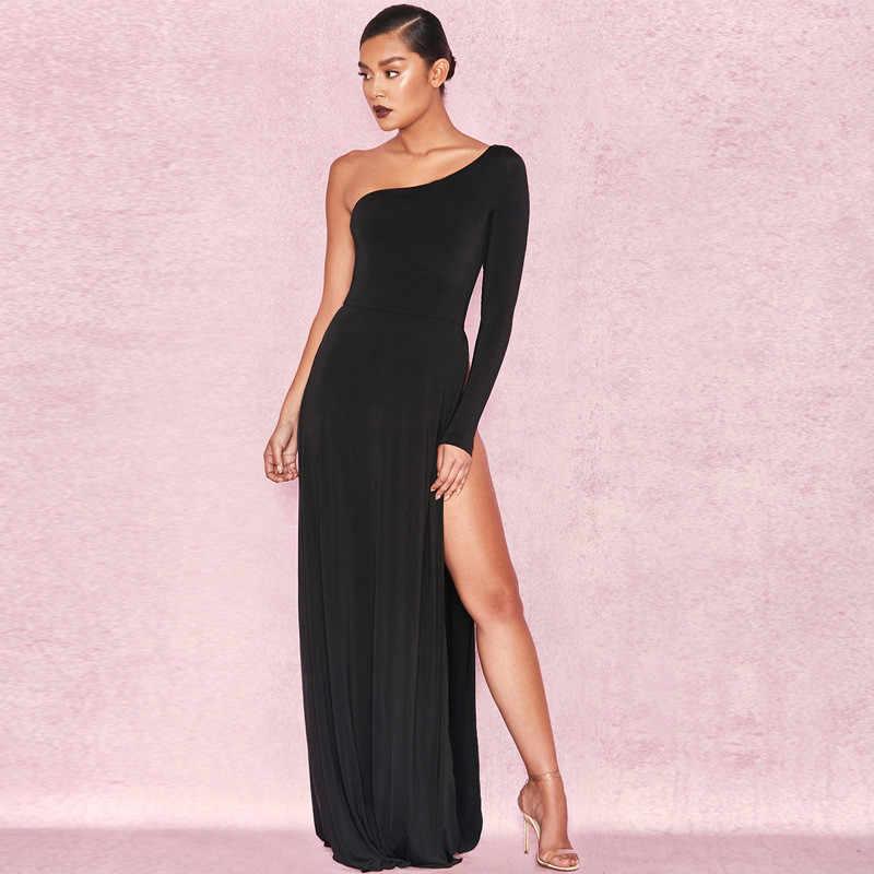 6b232eba95d ... 2018 Black One Shoulder Maxi Long Dress Women Elegant Party Club Dress  High Split Leg Sexy ...