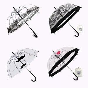 Image 1 - PALONY Transparent Lange Griff Regen Regenschirm Ultra Licht Frauen Kinder Sonnenschirm Regen Regenschirm Halbautomatische Weibliche Regenschirme
