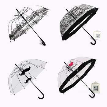 PALONY Transparent Long-handle Rain Umbrella Ultra Light Women Kids Parasol Rain Umbrella Semi-automatic Female Umbrellas - DISCOUNT ITEM  36% OFF All Category