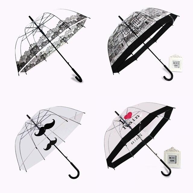 PALONY Transparent longue poignée pluie parapluie Ultra léger femmes enfants Parasol pluie parapluie semi automatique femelle parapluies
