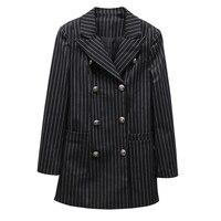 2017 מעצב אופנה חדשה באיכות גבוהה של נשים בליזר שרוול הארוך זוגי חזה כפתורי מתכת פסים בלייזר מעיל חיצוני
