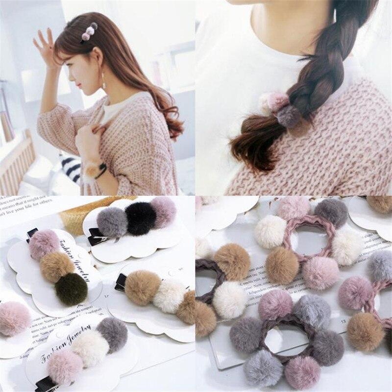 1 pc Women Girls Lovely Plush Ball Hair Accessories Elastic Hair Bands Simple Design Scrunchies Hair Clips Exquisite   Headwear