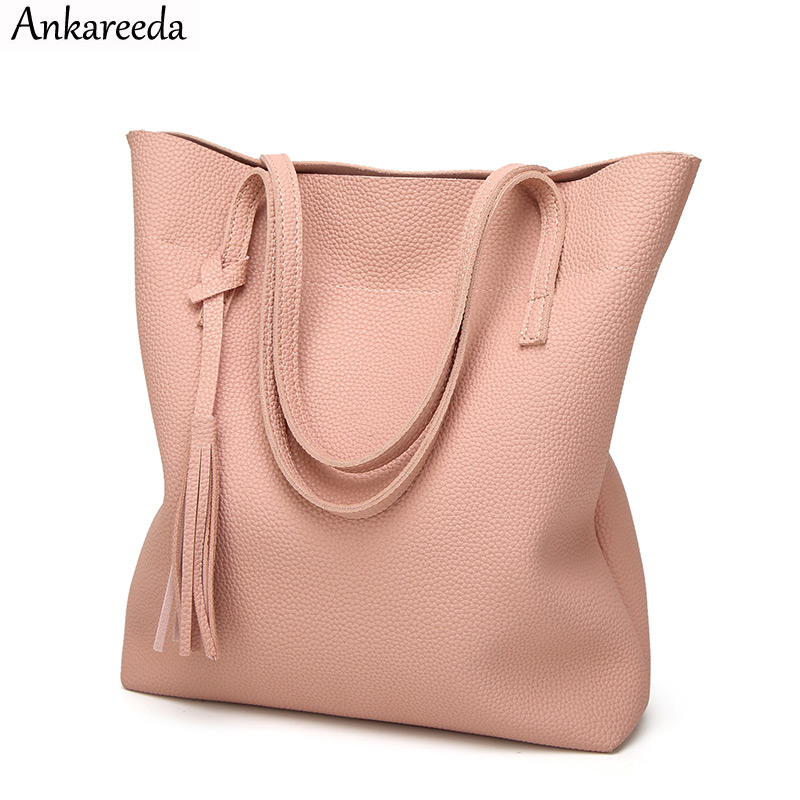 Ankareeda Women's Soft Leather Handbag High Quality Women Shoulder Bag Brand Luxury Tassel Bucket Bag Fashion Women's Handbags