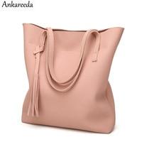 Ankareeda Women S Soft Leather Handbag High Quality Women Shoulder Bag Luxury Brand Tassel Bucket Bag