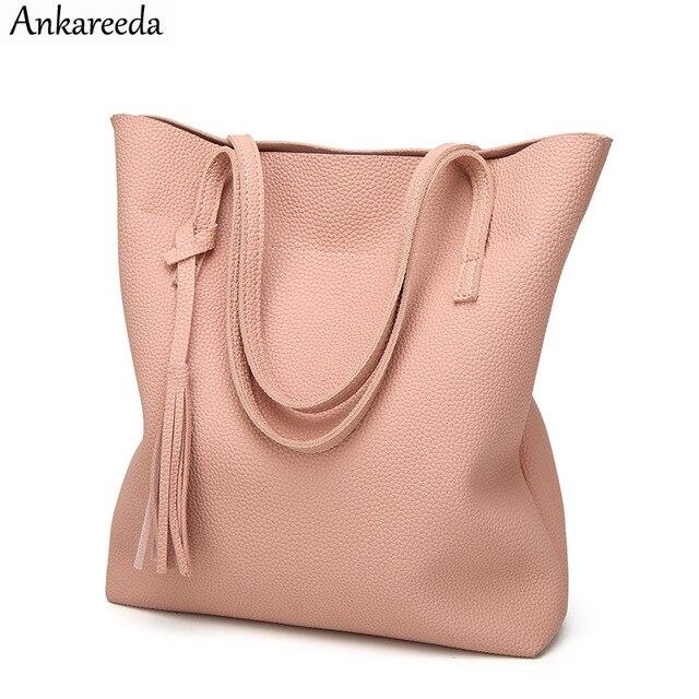 ea6e104f83b68 Ankareeda miękkie skórzane torebki damskie wysokiej jakości torba na ramię  kobiety luksusowej marki pomponem wiadro torba