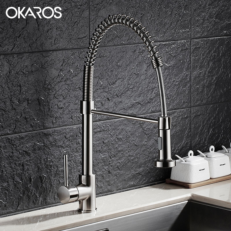 OKAROS Pull Out Kitchen Faucet Brass Nickle Brushed 360 Degree Rotation Single Handle Vessel Sink Hot And Cold Water Tap Mixer classic pull out kitchen mixer tap of single handle single hole kitchen faucet with hot cold solid brass kitchen sink water tap