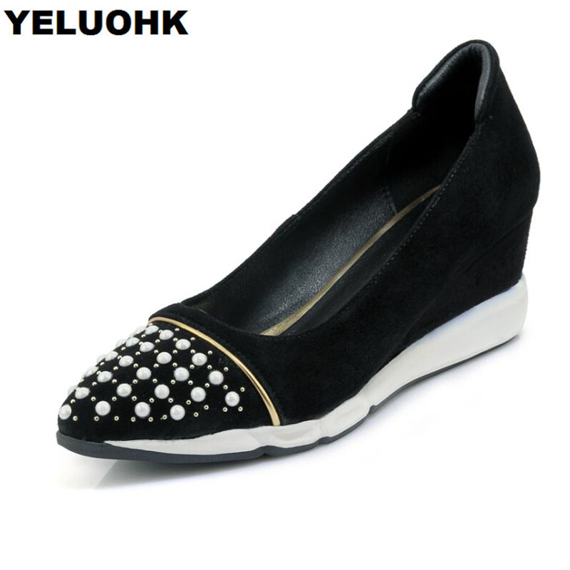 New Spring Autumn Shoes Women Wedges High Heels Fashion Pearl Genuine Leather Shoes Women Pumps Pointed Toe Ladies Shoes цена