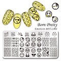 BORN PRETTY 12*6cm Rectangle Nail Stamping Template Manicure Nail Art Image Plate Emoticon BPX-L001