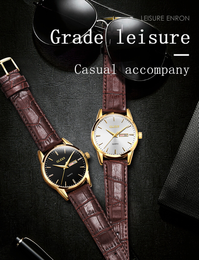 HTB1BKWQzY5YBuNjSspoq6zeNFXaJ Mens Watches Top Brand Luxury OLEVS Fashion Watch Men Leather Quartz Watch For Male Auto Date Rose Gold Shell relogio masculino