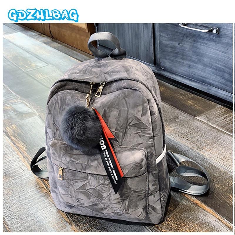 GDZHLBAG 2018 Velour Backpack Women School Bags For Teenage Girls female Velvet Lady Casual Pretty Cute Backpack Travel Bag B278