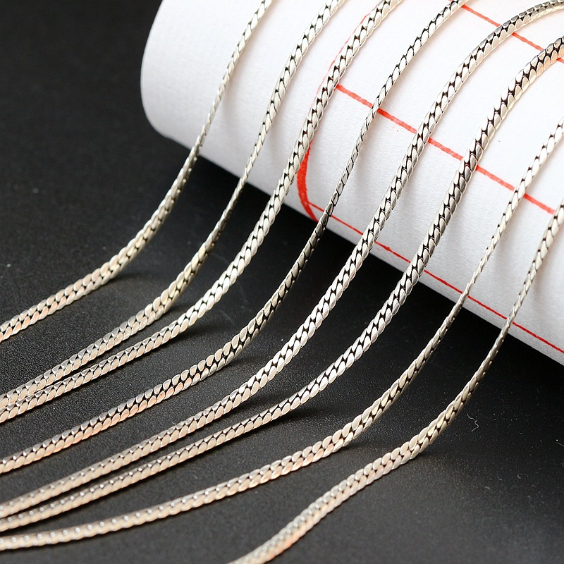 S925 Sterling Silver Jewelry Wholesale Hypoallergenic Retro Thai Silver Necklace Silver Chain Wild Silver Flat Men And Women