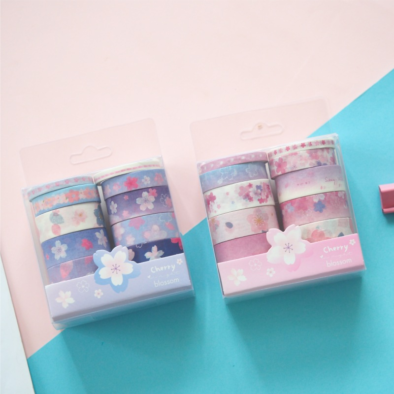 10 Pcs/pack Cherry Sakura Pink Blue Bullet Journal Washi Tape Set Adhesive Tape DIY Scrapbooking Sticker Label Masking