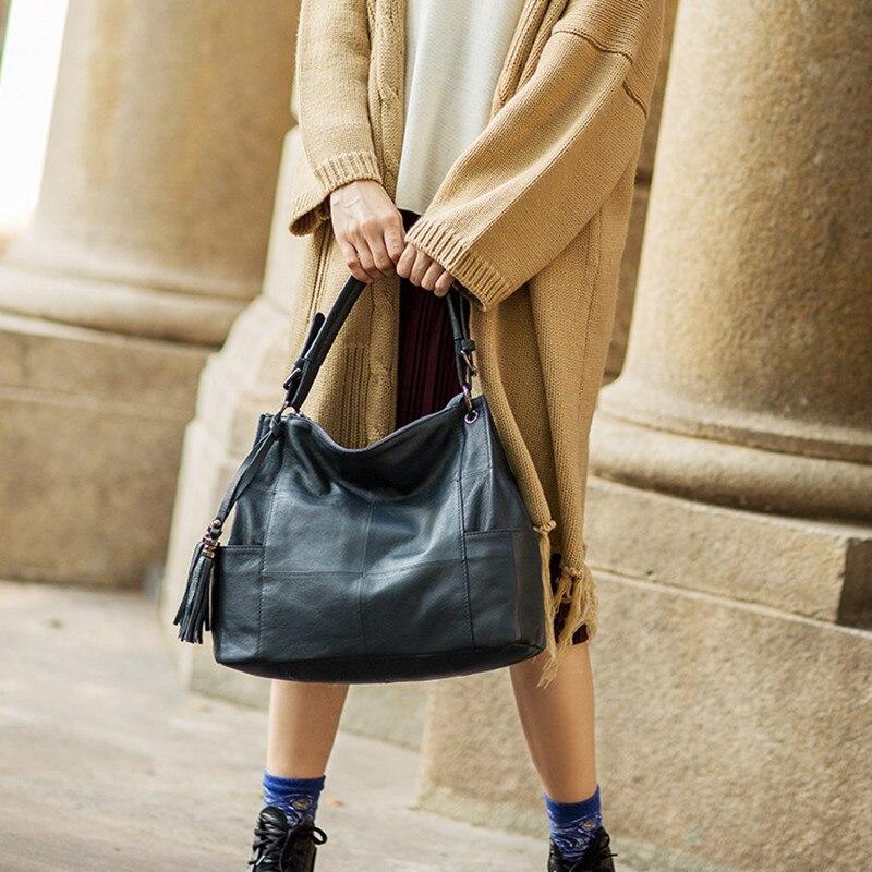 Новинка 2019, модная женская сумка мессенджер на плечо, черная, красная кожа, кожзам, клатч для покупок, Повседневная сумка на молнии, сумки - 6