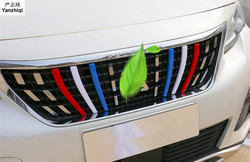 ABS 3pcs/lot Red and white blue three color bar grille decoration strip Car Styling Accessories For Peugeot 3008 GT 2017 2018