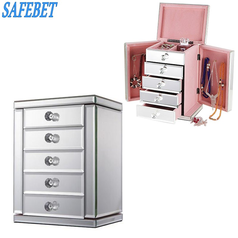 SAFEBET Luxury Glass Jewelry Storage Box Makeup Storage Drawers Organizer High end Home Decorations Jewelry Containers