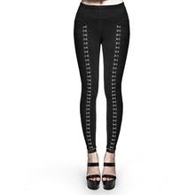 Punk Women's Metal Buckle Legging Steampunk Gothic Super Split Leggings Sexy Skinny Pencil Pants