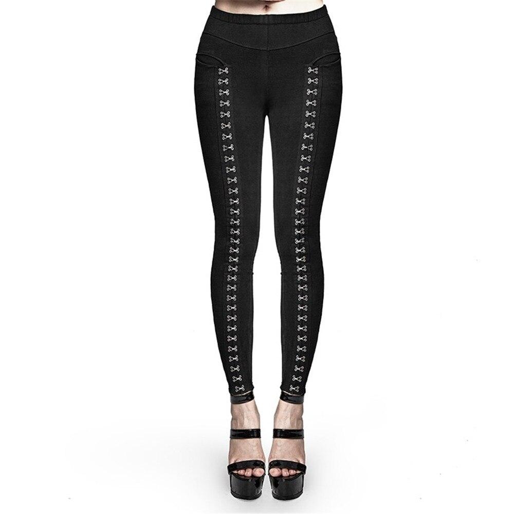 Punk vrouwen Metalen Gesp Legging Steampunk Gothic Super Split Leggings Sexy Skinny Potlood