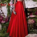 Formal Chic Hot Red Floor Length Skirts For Women To Formal Party Taffeta Long Skirts Fashion Zipper Style Custom Made