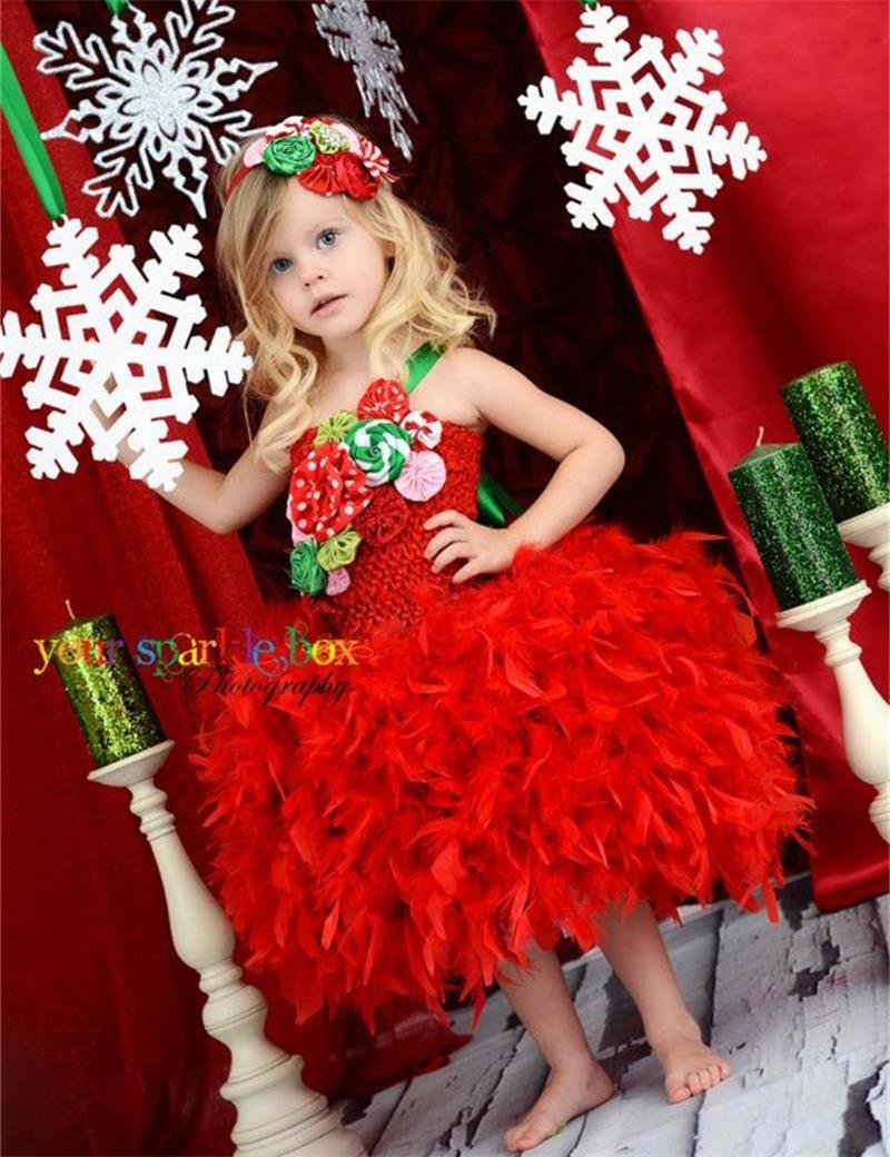2015 Christmas Flower Girl Dresses Appliqeus Feathers Ball Gown ...