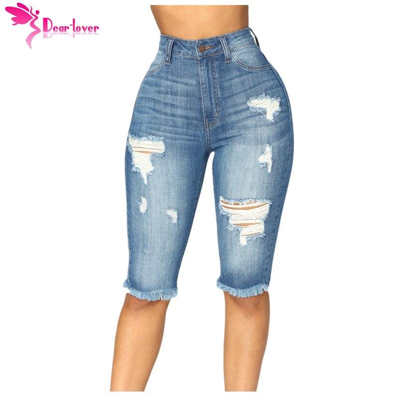Dear Lover High Waist Skinny   Jeans   Medium Blue Wash Denim Destroyed Bermuda Knee Length Shorts Feminino Plus 2XL Pants LC786021