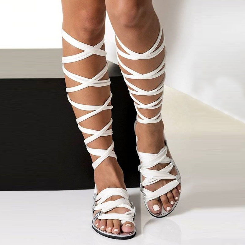 VTOTA Bohemia Style Summer <font><b>Flats</b></font> <font><b>Sandals</b></font> Gladiator Cross Strap <font><b>Sexy</b></font> Knee High Woman Boots <font><b>Flat</b></font> Casual Beach <font><b>Sandals</b></font> For Women image