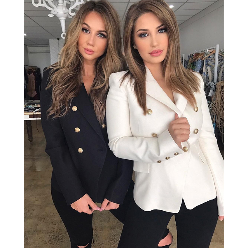 HAGEOFLY 2018 Design Black White Blazer Women Work Office Formal Double Breasted Buttons Blazers Autumn Plus
