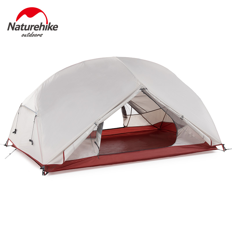 Naturehike Custom Mongar 2 3 People Waterproof Double Layer Outdoor Tent Aluminum Rod Gray Ultralight Camping Tents Mat E-EMS