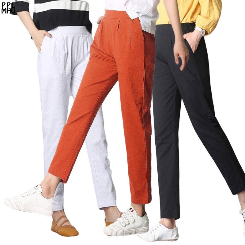 Summer Women's Casual Breathe Linen Pants Fashion Street Wear Beach Trousers Harajuku Cotton Elastic Waist Skinny Jeans Ladys