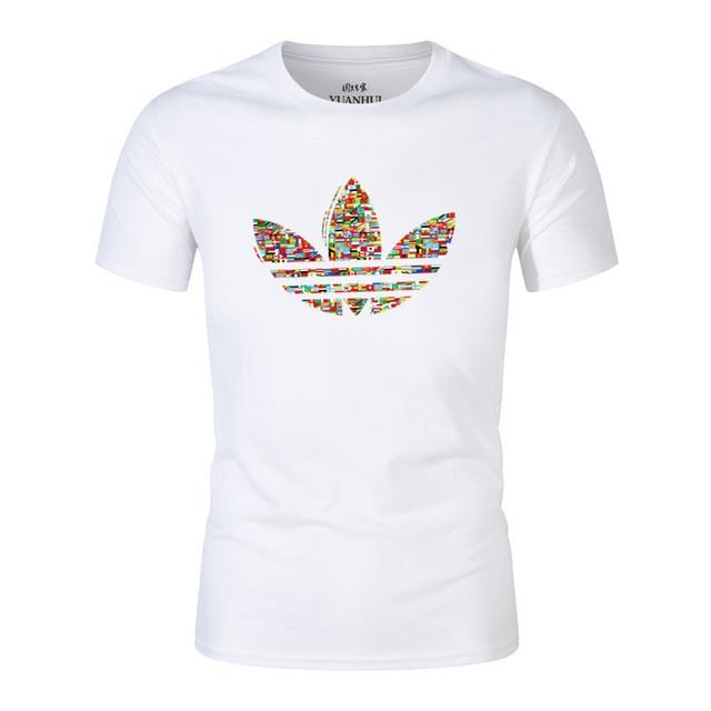 2018 Новый Костюмы белый с короткими рукавами и круглым вырезом Для мужчин футболка Для мужчин модные европейский размер футболки Повседневное для мужчин футболка Топы