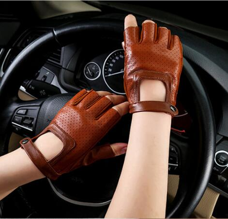 Men And Women's Genuine Leather Half Finger Glove Women's Leather Dancing Glove Sports Driving Glove R080
