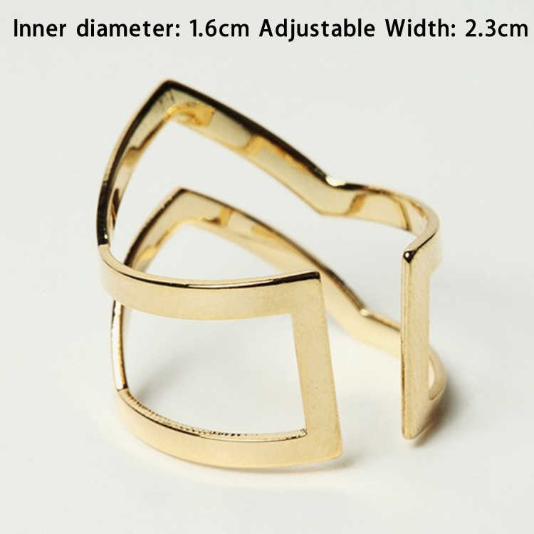 Летние Стильные Новые Кольца с буквенным двойным v-образным кольцом женские полуоткрытый регулируемые винтажные кольца золотой и серебряный цвета