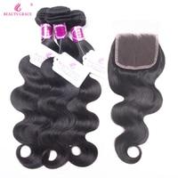 Beauty Grace Brazilian Body Wave 3 Bundles With Closure Non Remy Brazilian Human Hair Weave Bundles