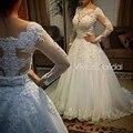Vestido де noiva Длинные Рукава Свадебные Платья Sexy Back Невесты Платья Свадебные Платья Принцесса Casamento Robe de Mariage