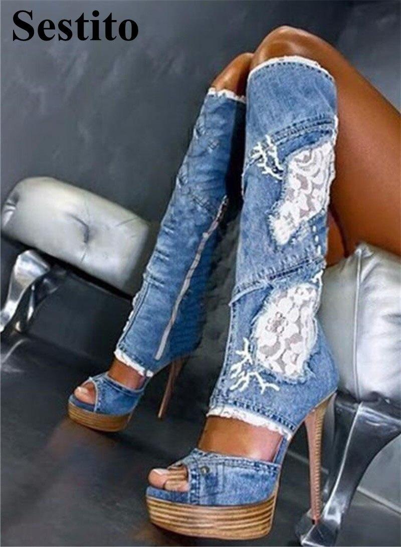 European Denim Ladies Long Boots Patchwork Lace Super High Heel Platform Knee-High Boots Women Peep Toe Thin Heels Zip ShoesEuropean Denim Ladies Long Boots Patchwork Lace Super High Heel Platform Knee-High Boots Women Peep Toe Thin Heels Zip Shoes