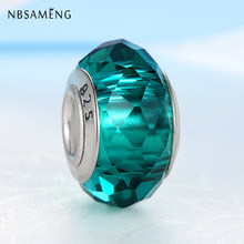 Original Silver Plated Beads Alloy Charms Crystal Round Clear Green Blue Fit Pandora Bracelets & Bangles Women DIY Jewelry(China)
