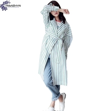 TNLNZHYN Women clothing Trench coat autumn high-end fashion loose large size leisure female stripe Windbreaker Outerwear QQ544