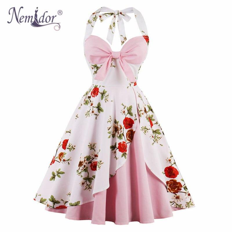 Nemidor Hot Sales Women 1950s Sleeveless Floral Print Retro Swing Dress Patchwork Halter Midi Plus Size Party A line Dress