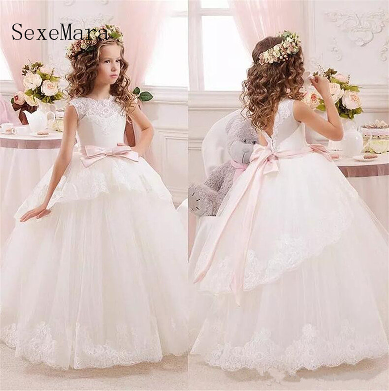 Princess Ball Gown White Lace   Flower     Girls     Dresses   For Weddings with Belt Bow Knot Custom First Communion   Dress   Pageant Gown