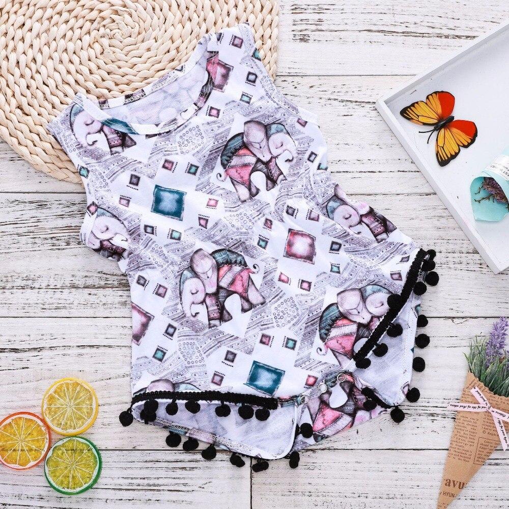 2018 Baby Girl Onesie Baby Bodysuit Cute Little Elephant Print Newborn Onesie Children Bodysuit Sleeveless Ball Tassel Summer