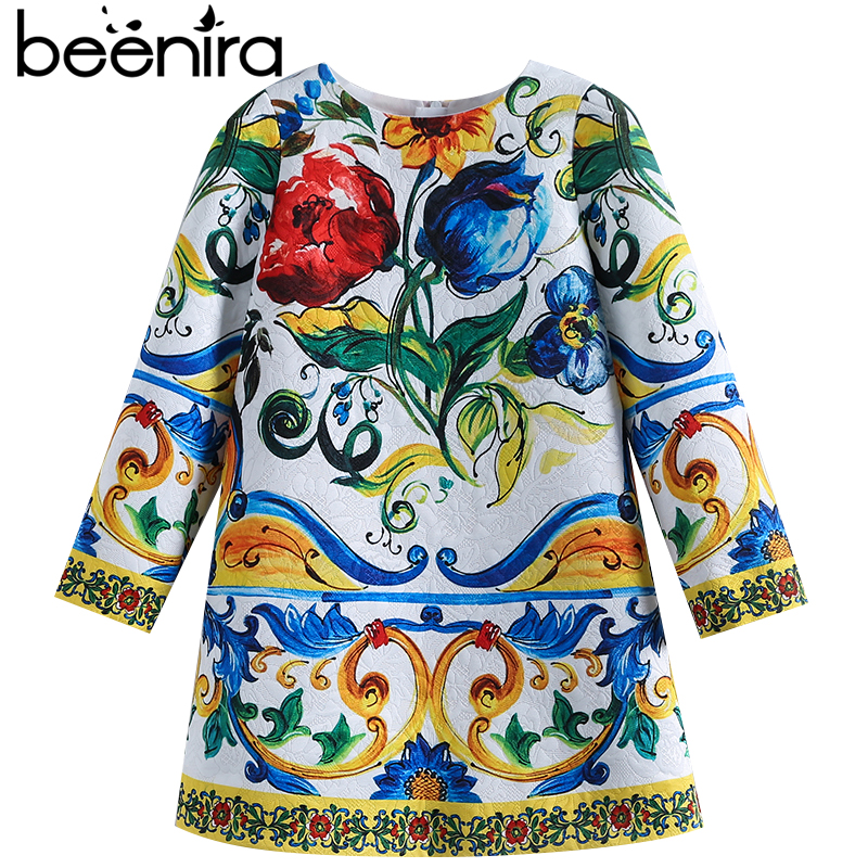 Beenira Children Long-Sleeve Dress 2017 New Winter Style Kids European And American Pattern Princess Dress For 4-14Y Girls Dress beenira children clothes dresses 2017 new summer fashion style girls flower pattern bow princess dress for 4 14y baby girl dress