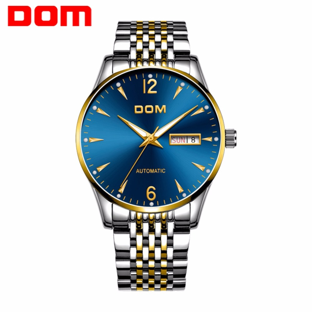 DOM Mechanical Watch Top Brand Luxury Automatic Mens Watch Steel Belt Casual Fashion Waterproof Business Watch Men M-89G-1M2