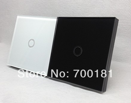White Color Touch Light Switch/ Wall touch Switch, Glass panel design with LED indicator, CE approval,Free shipping
